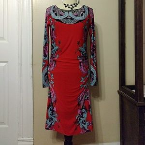 Analili Dresses & Skirts - *Analili* Sz S Dress Red Blue Long Sleeve Stretch