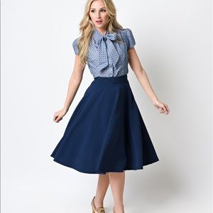 Modcloth Dresses & Skirts - Unique Vintage Navy Swing Skirt