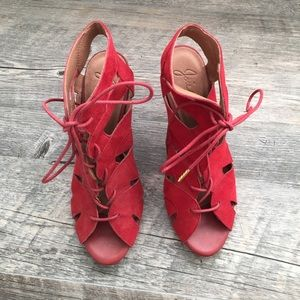 Joie Shoes - NWT Joie Red Suede Lace-Up heels