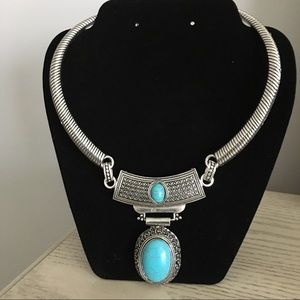 Jewelry - Choker Necklace with Faux Turquoise