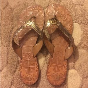 Tory Burch Shoes - FLASH SALE!!!!!  Gold Thora sandals.