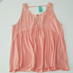 NWT peach pink flowy top crochet trim sz S