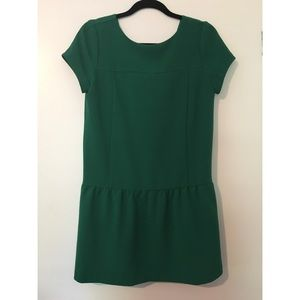 CO bright green drop waist mini dress