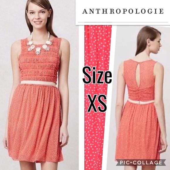 5c10ea88431f Anthropologie Dresses | Postmark Orange Swiss Dot Dress Xs | Poshmark