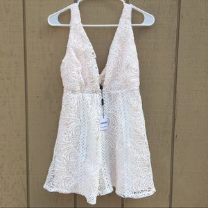 choies Dresses & Skirts - Choies white Lace dress w/ pink under lining NWT