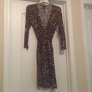INC International Concepts Dresses & Skirts - Inc. faux leopard wrap dress. Small. Belt attached