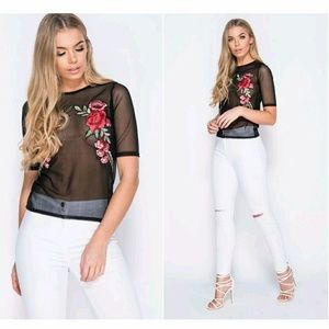 Tops - NEW! Grenadine Embroidered SS Top