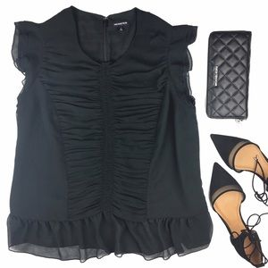 Who What Wear Tops - Who What Wear Target Ruched Ruffle Black Blouse