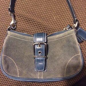 Coach Handbags - Coach Blue Suede Bag