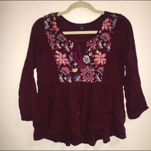 American Eagle Outfitters Tops - American eagle embroidered tie shirt