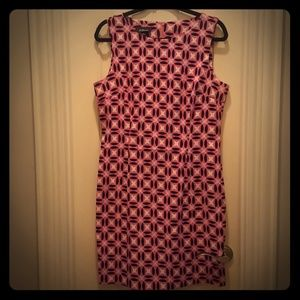 AGB DRESS Pink Black and White Printed Work Dress