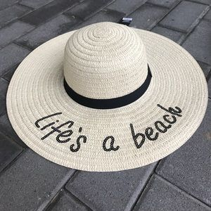 "Accessories - ""Life's a Beach"" Black Sequin Embroidered Hat"
