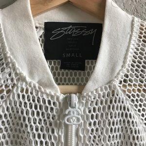 Stussy Jackets & Blazers - Sunday Sale! Stussy white mesh zip up  jacket