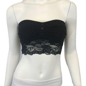 Other - Black Lace & Button Contrast Bandeau