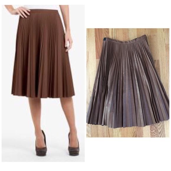 3aa9b7404f BCBGMaxAzria Dresses & Skirts - BCBG Brown Faux Leather Midi Pleated Skirt  Elsa