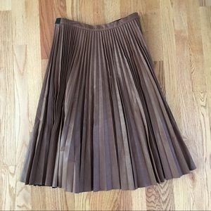 38e5a2106e BCBGMaxAzria Skirts - BCBG Brown Faux Leather Midi Pleated Skirt Elsa