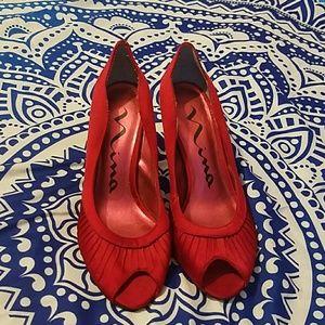 Nina Shoes - Red velvateen peep toe kitten heels