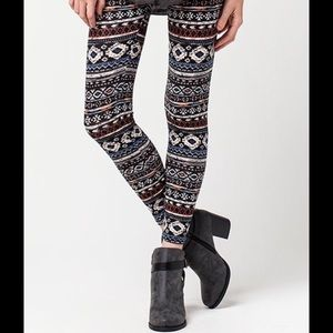Pants - Ethnic Boho Tribal Blue Leggings