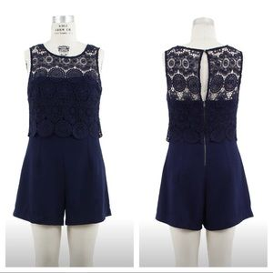 Skies Are Blue Dresses & Skirts - 🆕! NWT Skies Are Blue Navy Floral Lace Romper