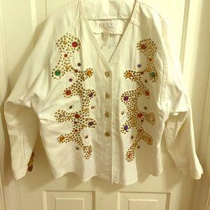 Vintage Jackets & Blazers - White Jean Bejeweled Vintage Jacket