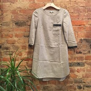 Madewell shift dress with leather details