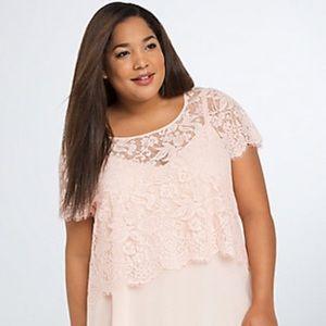 BNWOT  Torrid Lace Crop Top Pink size 1X Plus size