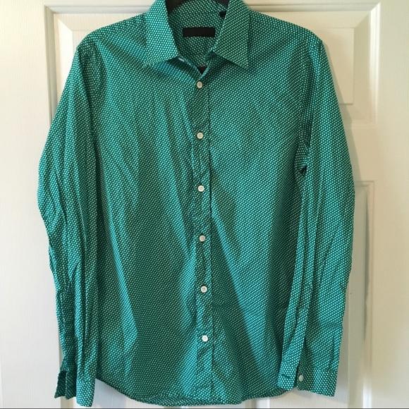 33 off burberry other burberry prorsum green polka dot for Button down polka dot shirt