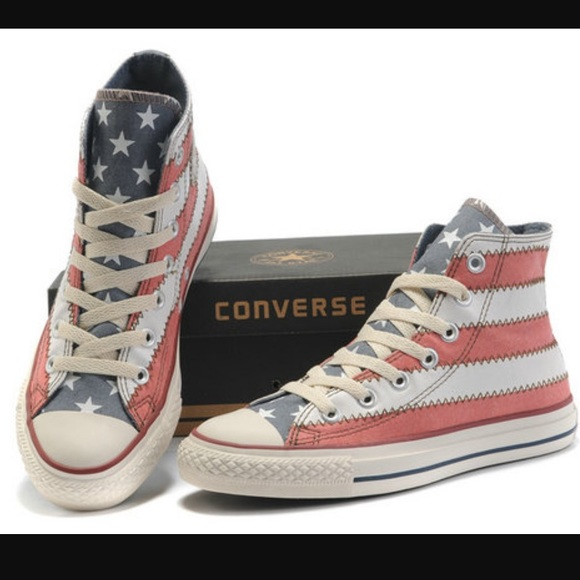 16d352313e02 Converse Shoes - Converse faded American flag high tops