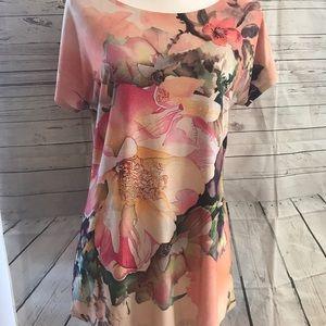 Roz & Ali floral watercolor tunic top size small