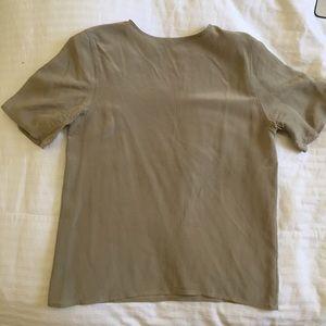 Vintage 100% silk short sleeve blouse in tan