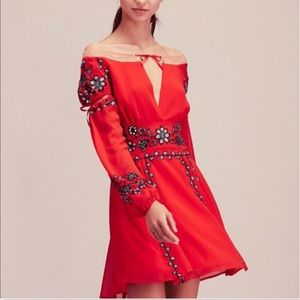 NWOT FP For love & Lemos Red Niccola Mini-Dress