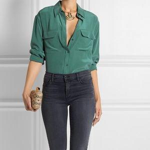Equipment Signature Slim Silk Shirt - Kelly Green