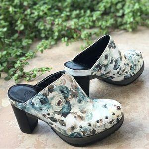 Dr. Martens Shoes - Dr Martens Blue Floral Studded Clogs
