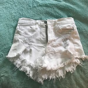 Forever 21 Pants - white high waisted cut off shorts