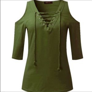 Tops - Lace-Up Sexy Open Cold-Shoulder - Military Green