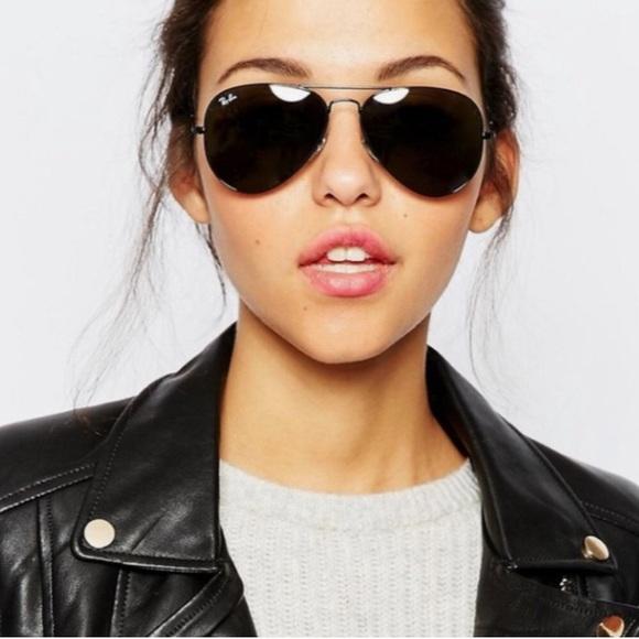 all black aviator ray ban sunglasses