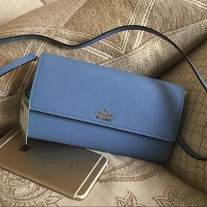 Brand new Kate Spade crossbody leather wallet blue
