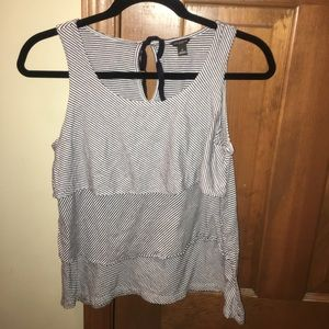Ann Taylor tiered stripe tank with bow in back