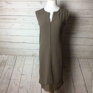 Carmen Marc Valvo A-line Plain Brown Casual Dress