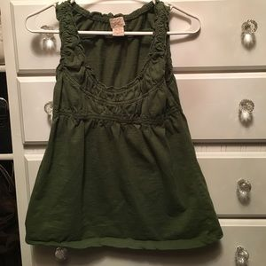 Eyelash Couture Army green empire waist tank top