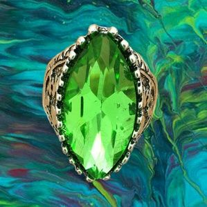 Jewelry - Stainless Steel Fashion Design Green Crystal Ring