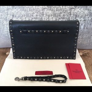 Valentino Handbags - Valentino Noir Rockstud Rolling Leather Clutch