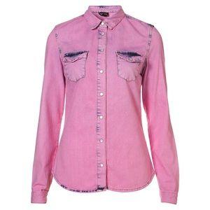 Topshop Moto Overdyed Pink Denim Shirt