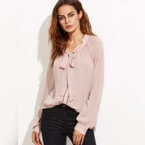 Shein Tops - Oversized Button Down Blouse with Tie