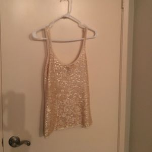 Winter white sequined Bebe top
