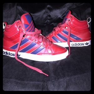 adidas Other - NWOT DOPE ADIDAS MID HIGH TOPS RED & BLUE 8.5