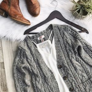 Arizona Jean Company Sweaters - Gray Cable Knit Button-Up Cardigan