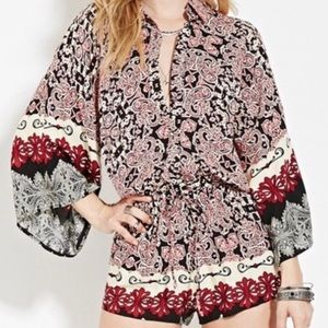 🌸NWT Forever21 Kimono Sleeve Paisley Romper