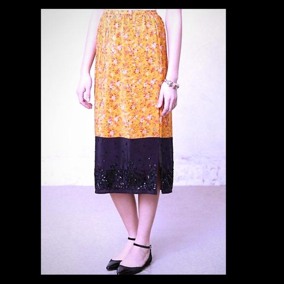 🎈Anthropologie Maeve silk beaded maxi skirt SK-35