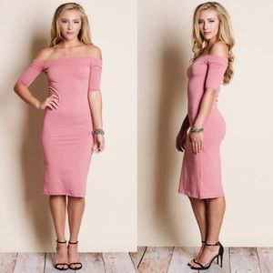 DANNY Off Shoulder Midi Dress - WARM PINK
